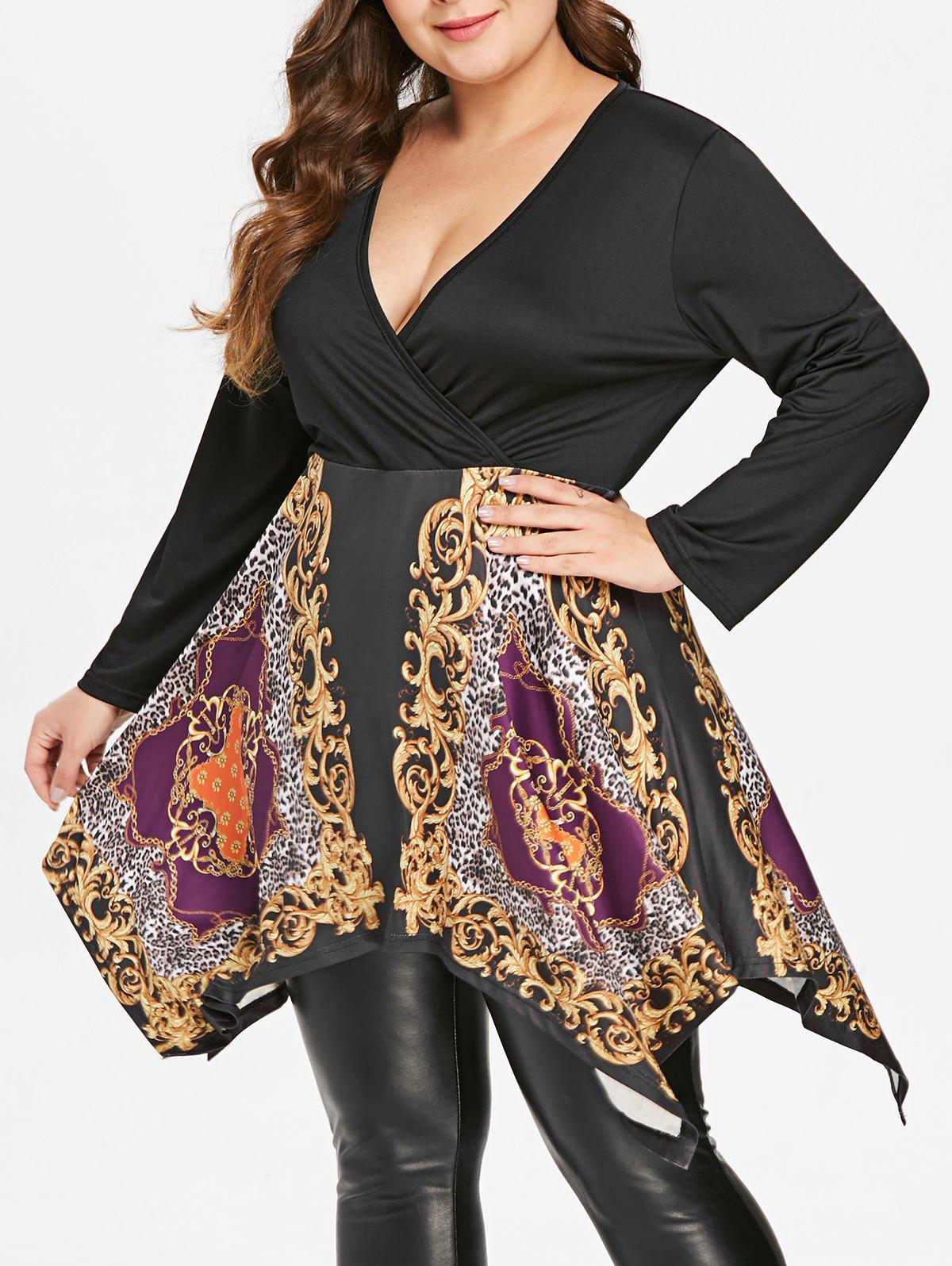 Shop Plus Size Ethnic Print Tunic Handkerchief T-shirt