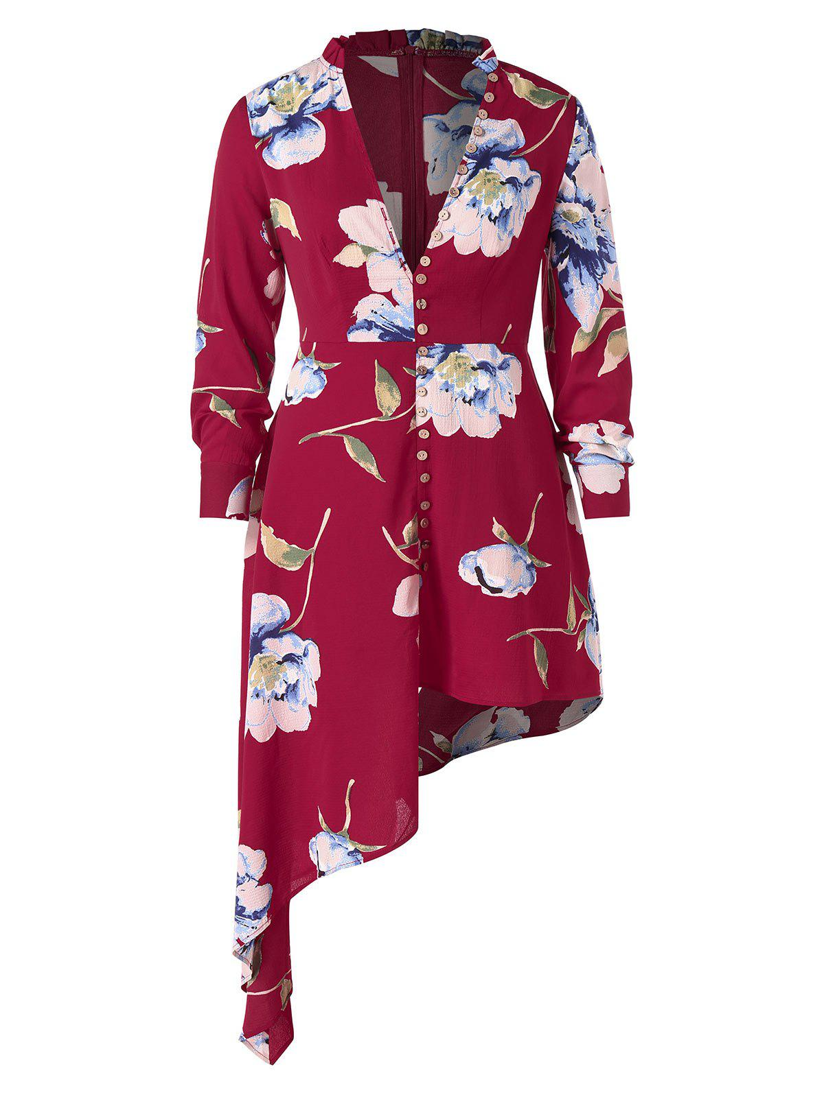 Trendy Plus Size Plunge Floral Asymmetrical Dress