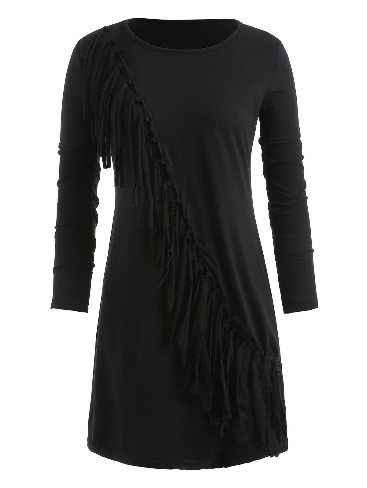 Affordable Fringe Long Sleeve Mini Dress
