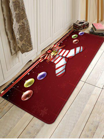 Christmas Socks Balls Pattern Water Absorption Area Rug - RED WINE - W16 X L47 INCH