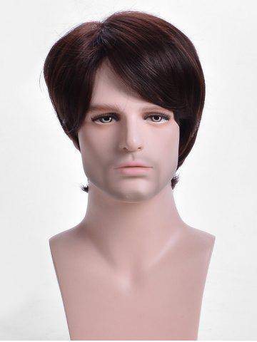 Inclined Bang Short Straight Capless Synthetic Wig for Men