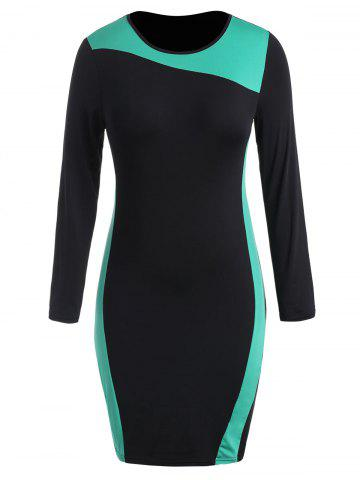 Round Neck Plus Size Color Block Bodycon Dress