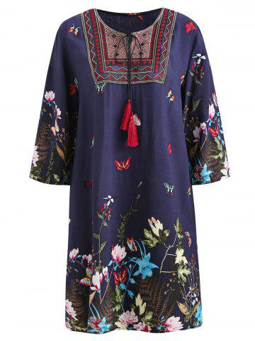 Ethnic Embroidery Half Sleeve Dress