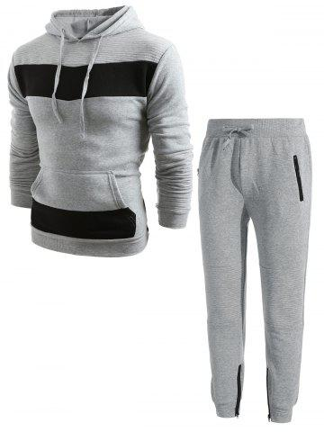 Contrast Pleated Stripe Patchwork Fleece Hoodie Sweatpants Suit