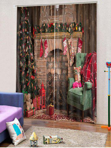 2PCS Christmas Tree Gift Stocking Pattern Window Curtains