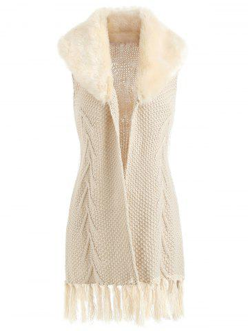 Faux Fur Sleeveless Tassel Chunky Cardigan