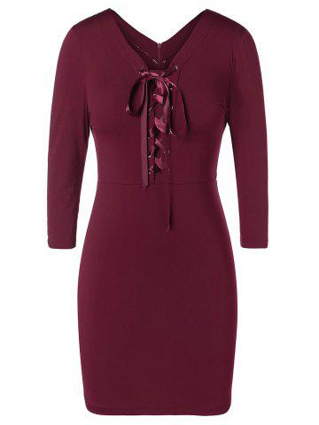 Plus Size Lace Up Bodycon Dress - RED WINE - 5X