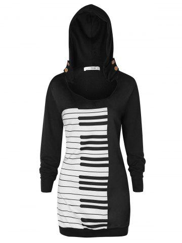 Plus Size Musical Notes Graphic Hoodie