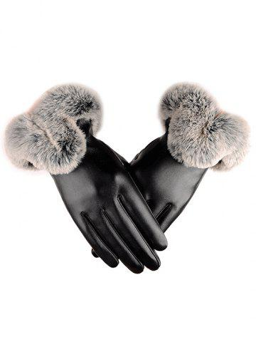Outdoor PU Leather Faux Fur Gloves