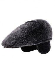 Winter Faux Fur Earmuff Newsboy Cap -