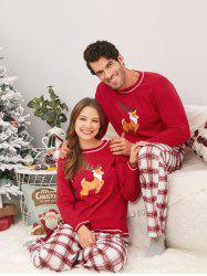 Elk Print Plaid Family Christmas Pajamas -
