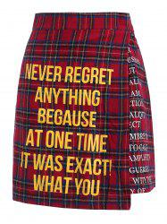 Quote Print Plaid Skirt -