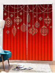 2PCS Christmas Decor Pattern Window Curtains -