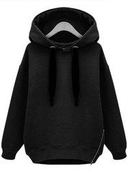 Drop Shoulder Zip Embellished Plus Size Hoodie -