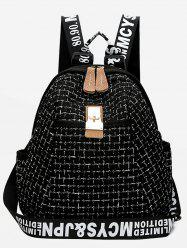 Letter and Plaid Printed Backpack -