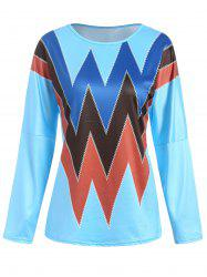 Zig Zag Print Drop Shoulder T-shirt -