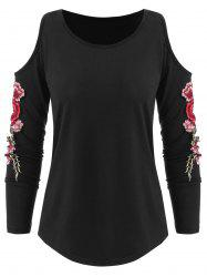 Embroidery Flower Cold Shoulder Top -
