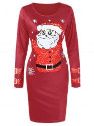 Long Sleeve Santa Claus Printed Christmas Dress -