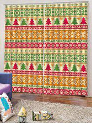 2PCS Christmas Tree Geometric Pattern Window Curtains -
