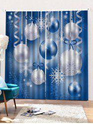 2PCS Christmas Snowflake Ball Pattern Window Curtains -