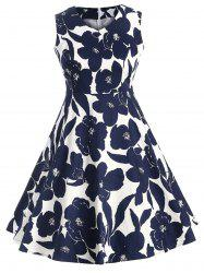 PLus Size Vintage Floral Sleeveless Flare Dress -