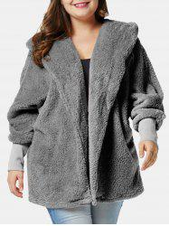 Plus Size Fluffy Hooded Coat with Open Front -