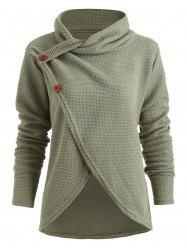 Turtle Neck Button Pullover Sweater -