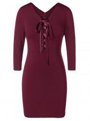 Plus Size Lace Up Bodycon Dress -