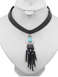 Faux Turquoise Inlaid PU Leather Tassel Choker -