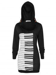 Plus Size Musical Notes Graphic Hoodie -