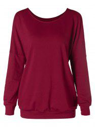 Solid Color Drop Shoulder Scoop Neck Sweatshirt -