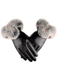 Outdoor PU Leather Faux Fur Gloves -