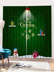 2PCS Merry Christmas Gift Snowman Pattern Window Curtains -