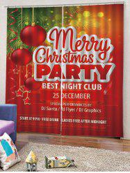2PCS Merry Christmas Party Ball Pattern Window Curtains -