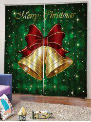 2PCS Merry Christmas Bells Pattern Window Curtains -