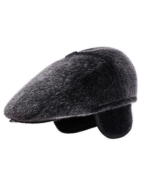 32be4ac7893 2019 Winter Faux Fur Earmuff Newsboy Cap