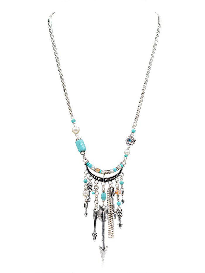 Trendy Arrow Pattern Faux Turquoise Tassel Necklace