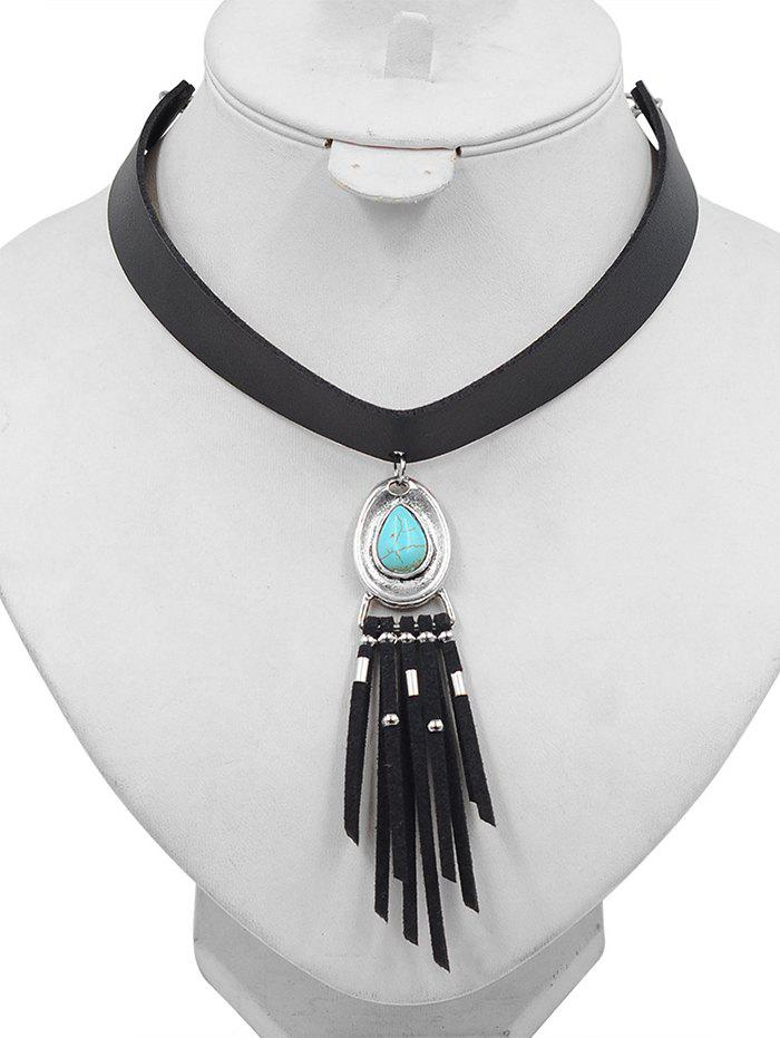 New Faux Turquoise Inlaid PU Leather Tassel Choker