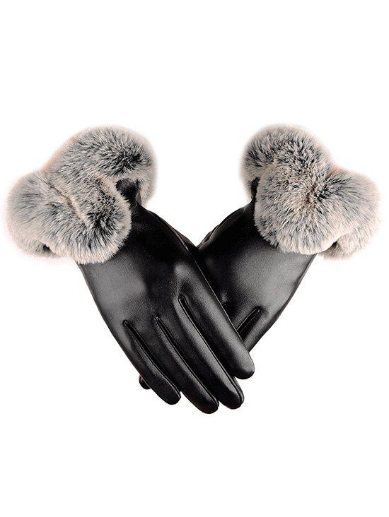Best Outdoor PU Leather Faux Fur Gloves