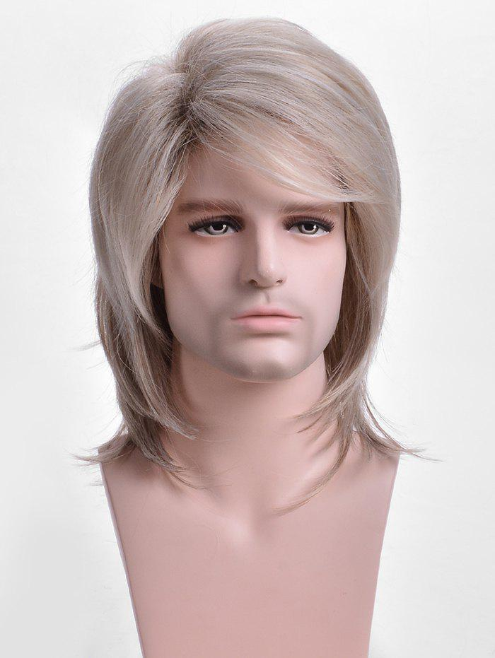 Affordable Short Side Bang Colormix Straight Synthetic Wig for Men