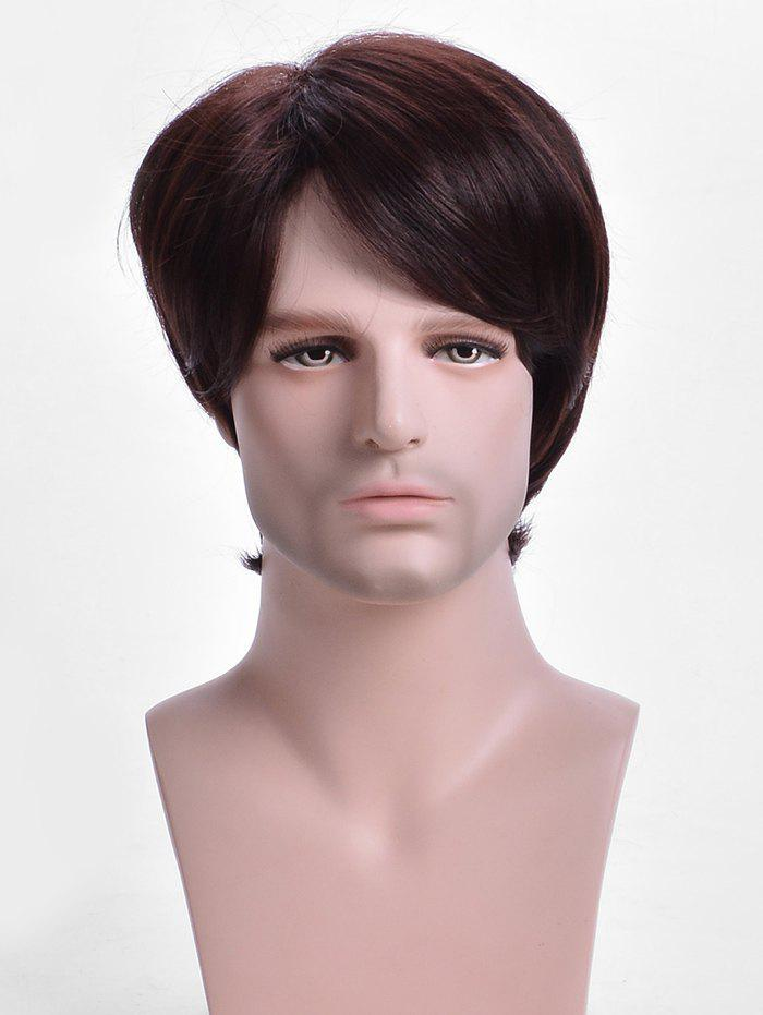 Trendy Inclined Bang Short Straight Capless Synthetic Wig for Men