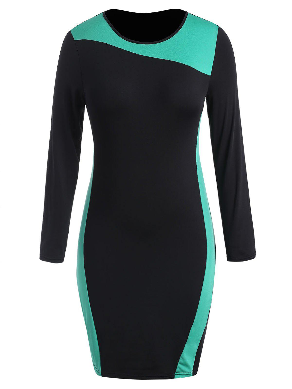Cheap Round Neck Plus Size Color Block Bodycon Dress