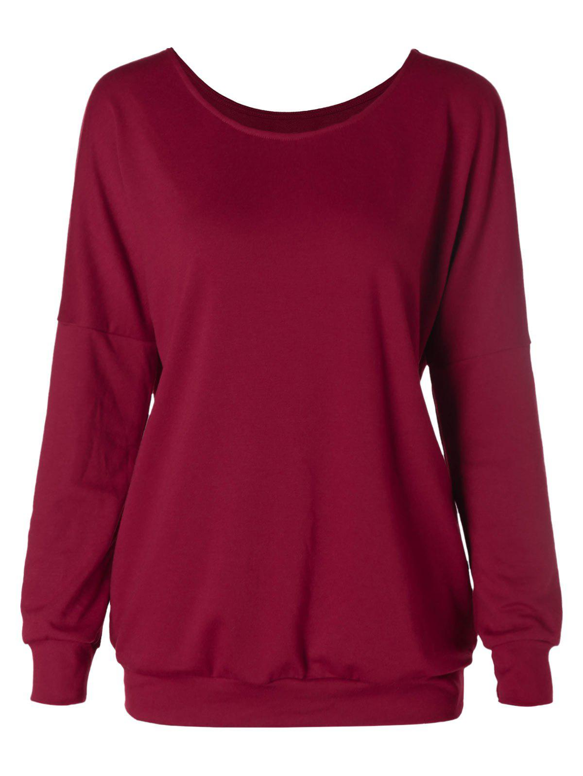 Best Solid Color Drop Shoulder Scoop Neck Sweatshirt