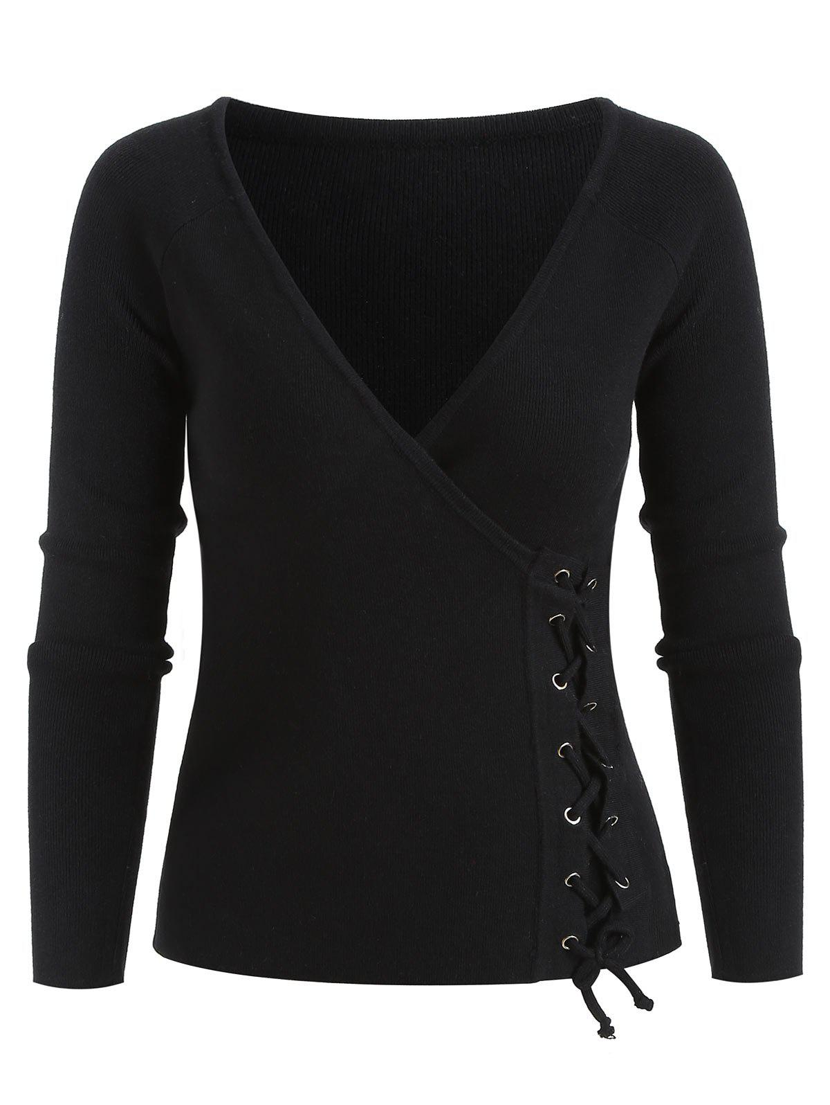 Outfits Lace Up Surplice Sweater