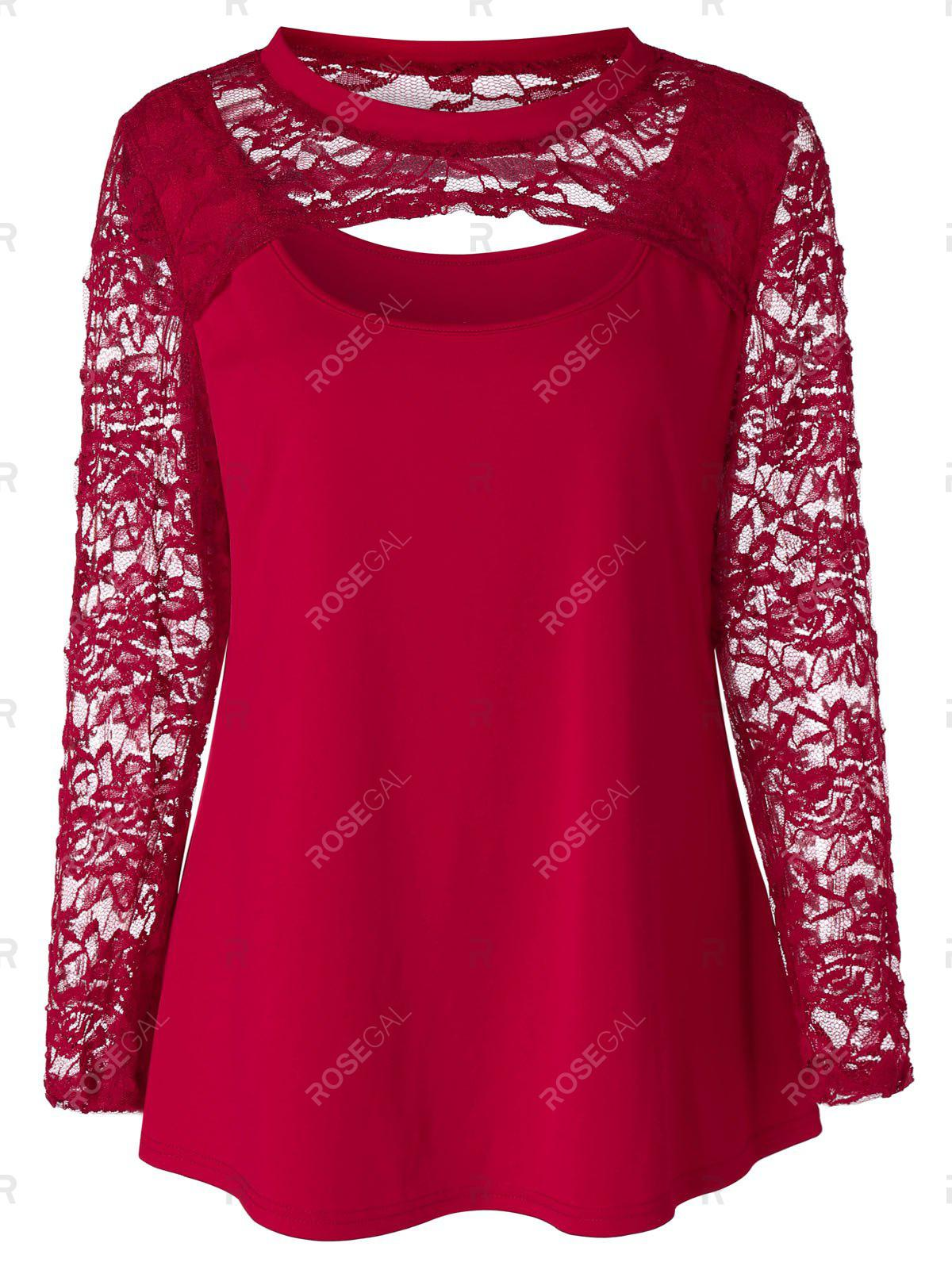 Outfit Plus Size Sheer Lace Sleeve T-shirt