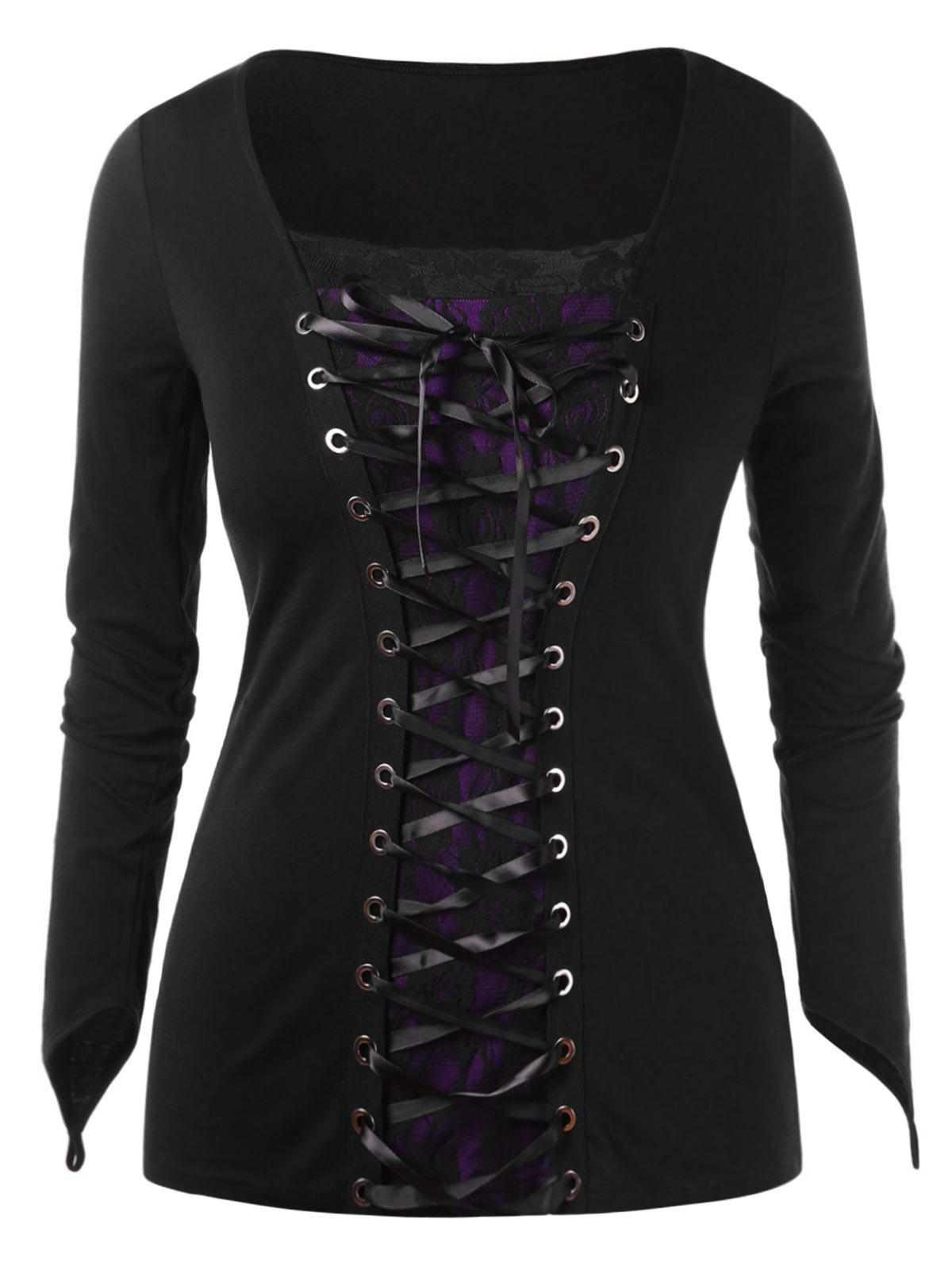 Chic Halloween Plus Size Lace Up T-shirt