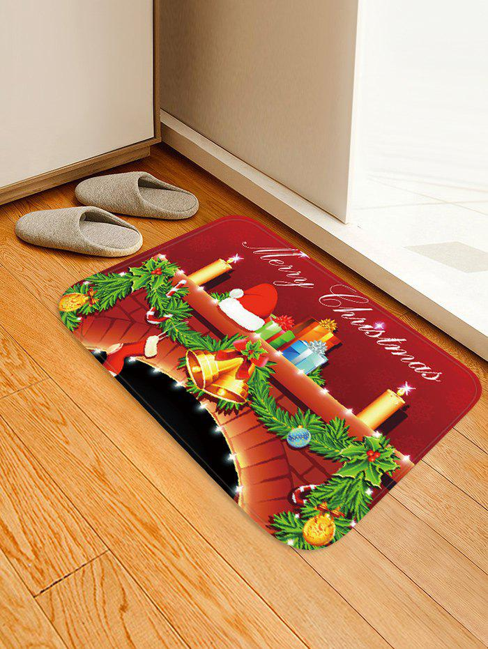 Outfits Christmas Fireplace Candle Pattern Water Absorption Area Rug