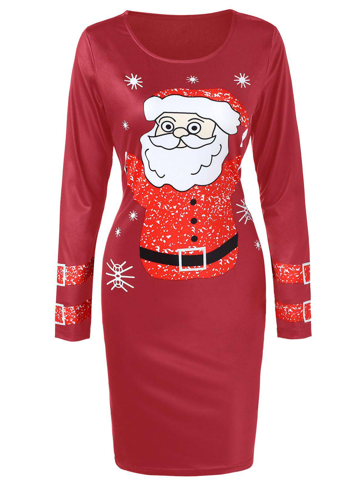 Chic Long Sleeve Santa Claus Printed Christmas Dress