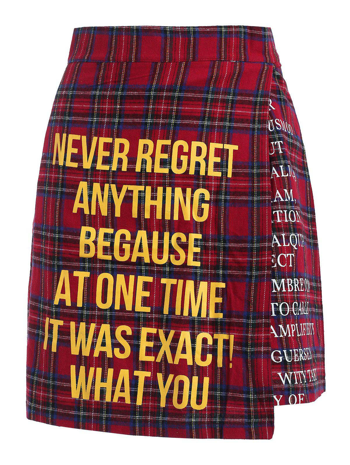 Hot Quote Print Plaid Skirt