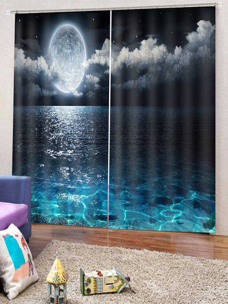 Hot 2PCS Sea Moon Night Pattern Window Curtains